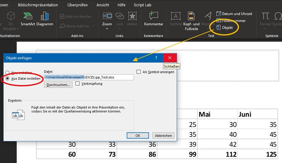 Verschiedene Möglichkeiten Excel in PowerPoint einzufügen